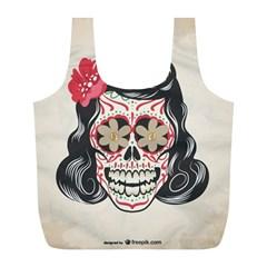 Woman Sugar Skull Full Print Recycle Bags (L)