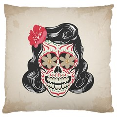 Woman Sugar Skull Large Flano Cushion Case (Two Sides)