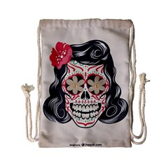 Woman Sugar Skull Drawstring Bag (Small)