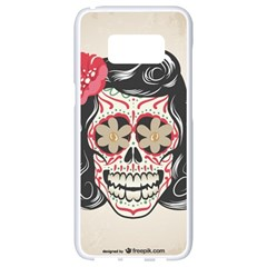 Woman Sugar Skull Samsung Galaxy S8 White Seamless Case