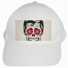 Man Sugar Skull White Cap