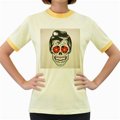 Man Sugar Skull Women s Fitted Ringer T-Shirts