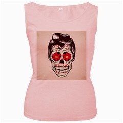 Man Sugar Skull Women s Pink Tank Top