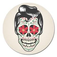 Man Sugar Skull Magnet 5  (Round)