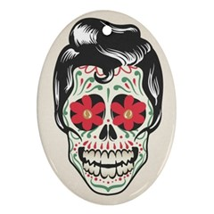 Man Sugar Skull Oval Ornament (Two Sides)