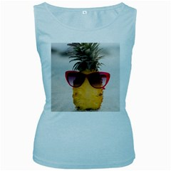 Pineapple With Sunglasses Women s Baby Blue Tank Top
