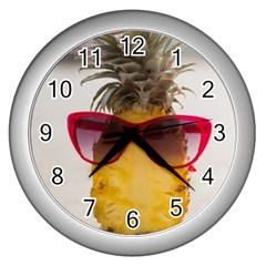 Pineapple With Sunglasses Wall Clocks (Silver)