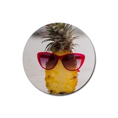 Pineapple With Sunglasses Rubber Coaster (Round)