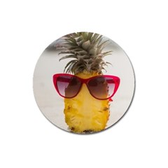 Pineapple With Sunglasses Magnet 3  (Round)