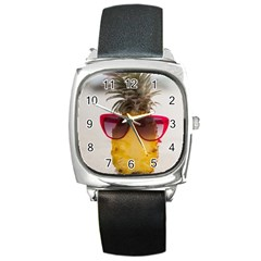 Pineapple With Sunglasses Square Metal Watch