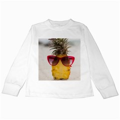 Pineapple With Sunglasses Kids Long Sleeve T-Shirts