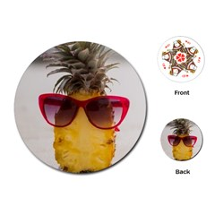 Pineapple With Sunglasses Playing Cards (Round)