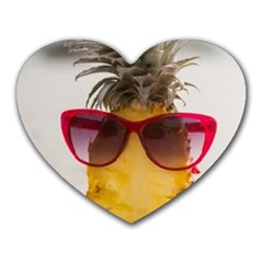 Pineapple With Sunglasses Heart Mousepads