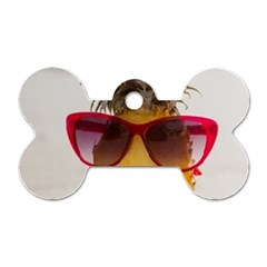 Pineapple With Sunglasses Dog Tag Bone (Two Sides)