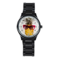 Pineapple With Sunglasses Stainless Steel Round Watch