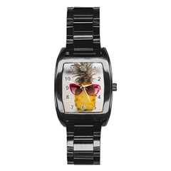 Pineapple With Sunglasses Stainless Steel Barrel Watch