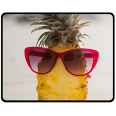 Pineapple With Sunglasses Double Sided Fleece Blanket (Medium)