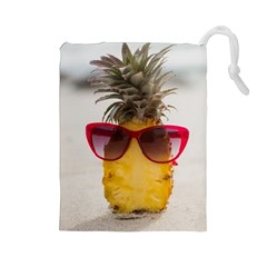 Pineapple With Sunglasses Drawstring Pouches (Large)