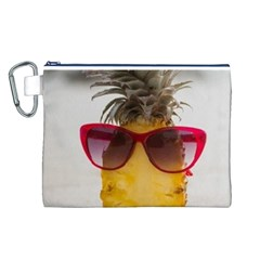 Pineapple With Sunglasses Canvas Cosmetic Bag (L)