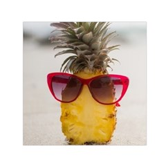 Pineapple With Sunglasses Small Satin Scarf (Square)