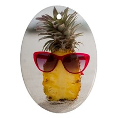 Pineapple With Sunglasses Ornament (Oval)