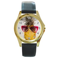 Pineapple With Sunglasses Round Gold Metal Watch