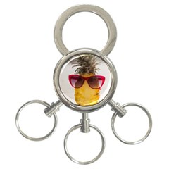 Pineapple With Sunglasses 3-Ring Key Chains