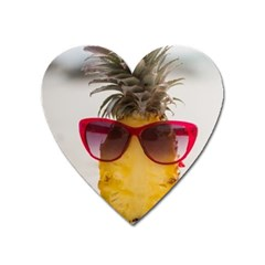 Pineapple With Sunglasses Heart Magnet