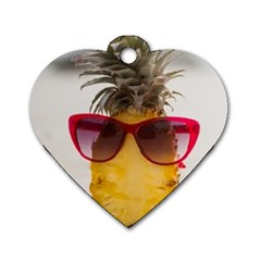 Pineapple With Sunglasses Dog Tag Heart (One Side)