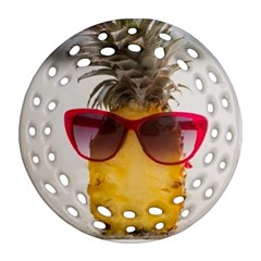 Pineapple With Sunglasses Round Filigree Ornament (Two Sides)