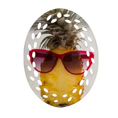 Pineapple With Sunglasses Oval Filigree Ornament (Two Sides)