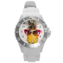 Pineapple With Sunglasses Round Plastic Sport Watch (L)