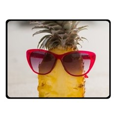 Pineapple With Sunglasses Double Sided Fleece Blanket (small)
