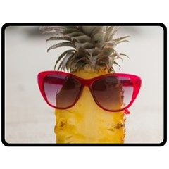 Pineapple With Sunglasses Double Sided Fleece Blanket (Large)