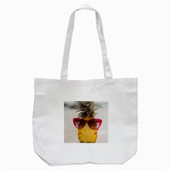 Pineapple With Sunglasses Tote Bag (White)