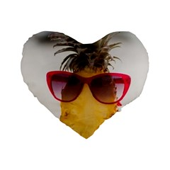 Pineapple With Sunglasses Standard 16  Premium Flano Heart Shape Cushions