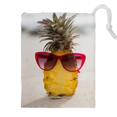 Pineapple With Sunglasses Drawstring Pouches (XXL)
