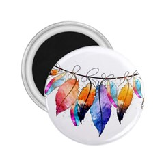 Watercolor Feathers 2.25  Magnets