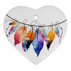 Watercolor Feathers Ornament (Heart)