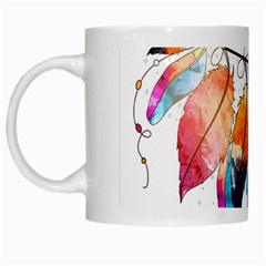 Watercolor Feathers White Mugs
