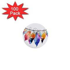 Watercolor Feathers 1  Mini Buttons (100 pack)