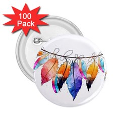 Watercolor Feathers 2.25  Buttons (100 pack)