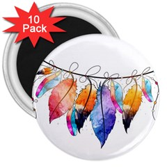 Watercolor Feathers 3  Magnets (10 pack)