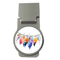 Watercolor Feathers Money Clips (Round)