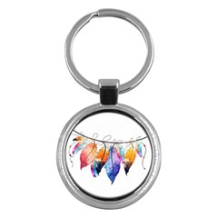 Watercolor Feathers Key Chains (Round)