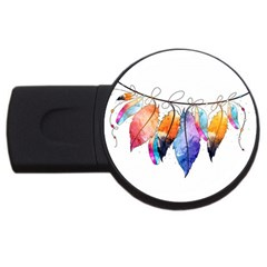 Watercolor Feathers USB Flash Drive Round (4 GB)