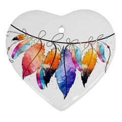 Watercolor Feathers Heart Ornament (Two Sides)