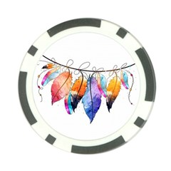 Watercolor Feathers Poker Chip Card Guard