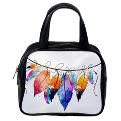 Watercolor Feathers Classic Handbags (One Side)