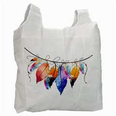 Watercolor Feathers Recycle Bag (One Side)
